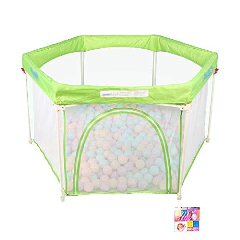 ポータブルプレイペン屋内および屋外キャリーケースと調節可能/洗濯可能、緑色、6パネル (色 : Playpen+mat)