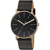 Skagen Signature Black Stainless Steel & Leather Watch SKW6401