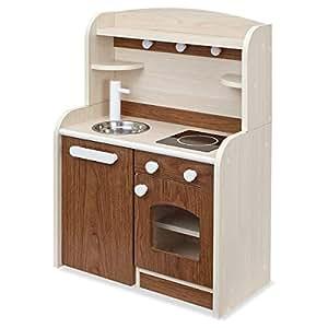 木製 ままごとキッチン minicook(ミニクック) (組立品Ver.4 ワゴンタイプ, ブラウン)