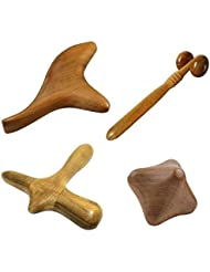 4 Pcs Set Thai Massage Wooden Stick Tools Hand Foot Face Head Body Roller Thai SPA Massages Therapy Health [並行輸入品...