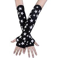 JISEN Black Punk Gothic Rock Knitted Soft Arm Warmer Fingerless Gloves