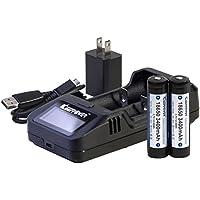 KEEPPOWER 純正 L2 LCD リチウムイオンバッテリー 1A USB高速充電器 (日本製セル 3400mAH 2本+L2 充電器セット) (3400mAH 2本+L2 充電器セット)