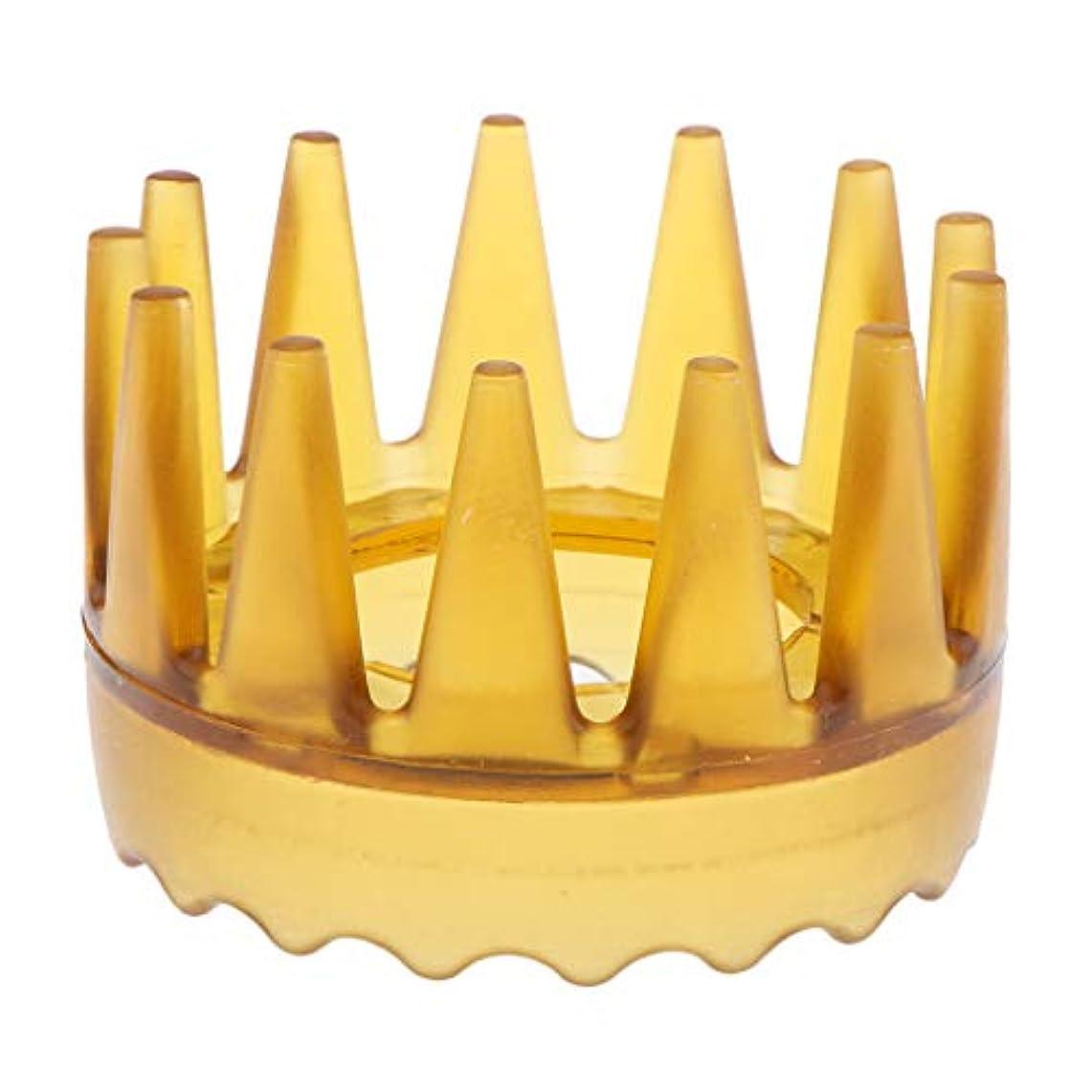 衣服印象的ページェントシャンプーブラシ 洗髪櫛 マッサージャー ヘアコーム ヘアブラシ 滑り止め 快適 リラックス 全4色 - 黄