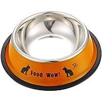 MyMei ペット用品 ペット用の皿 犬用 猫用 食器 餌入れ 水入れ  皿 ボウル 耐久性 滑り止め ステンレス鋼製  (S, オレンジ)
