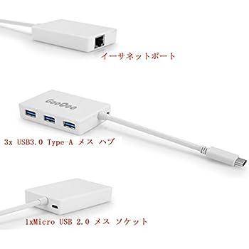 GooQee USB3.1 Type C RJ45 LANポート変換 ギガビットイーサネットアダプタUSB3.0 Type-A 3ポート Micro USB2.0ハブポート付き マルチポート搭載3in1 高速データ転送 急速充電 OTG機能 ホワイト