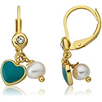 LMTS I LOVE My Jewels 14K Gold Plated Leverback Earring Accented With Fresh Water Pearl Dangle