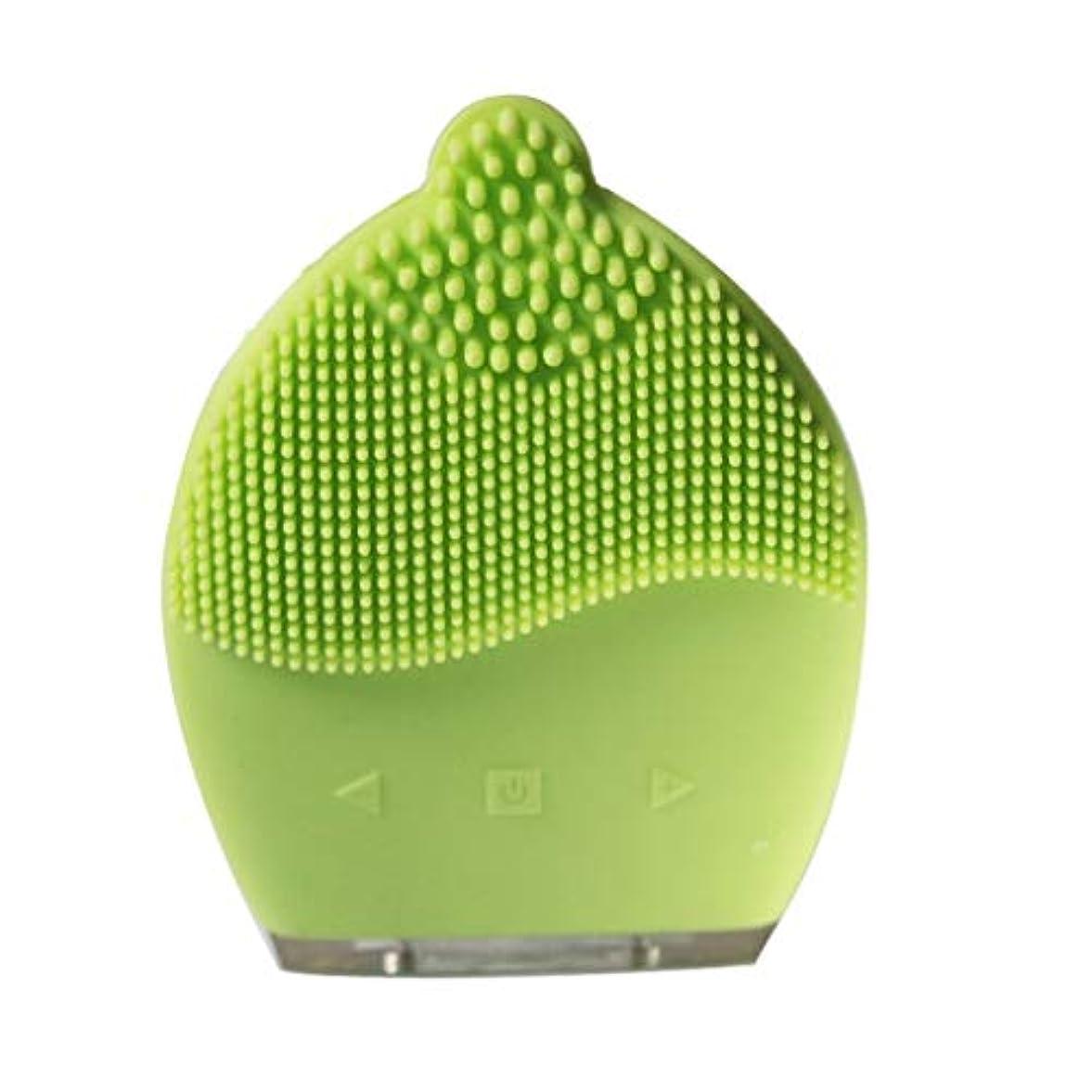 仮定うねるヶ月目電気シリコーンクレンジング器具、USBフェイシャルシリコーンポータブルフェイシャルマッサージャーディープエクスフォリエイティングジェントル&ディープクレンジングフェイシャル (Color : Green)