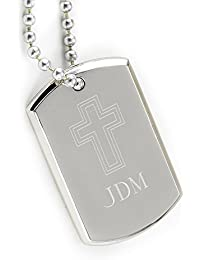 Personalized Small Beveled犬タグwith Cross