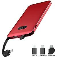 モバイルバッテリー 大容量 10000mAh ケーブル内蔵 薄型 軽量 急速充電 LEDスクリーン スマホ 充電器 コンパクト ライトニング iPhone / Micro USB / Type-C 各機種対応 YURIZOFB (10000mAh, レッド)
