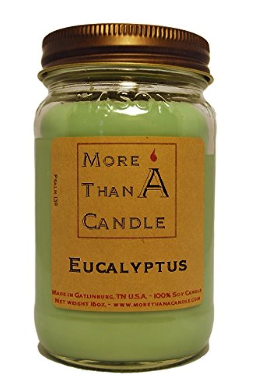 More Than A Candle ELP16M 16 oz Mason Jar Soy Candle, Eucalyptus