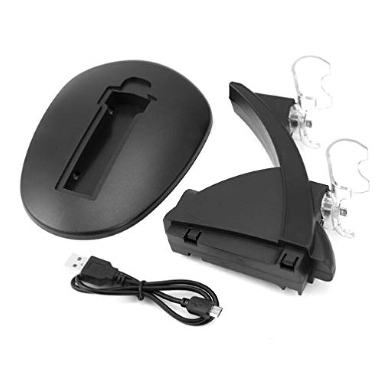知覚的おんどり休日Dua USB充電ソケットキット充電器ドックスタンドクレードル、USBケーブル付きPS4コンソールコントローラープレイステーションゲームパッド用-ブラック