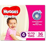 Huggies Ultra Dry Nappies, Girls, Size 4 Toddler (10-15kg), 36 Count