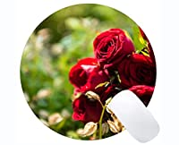 赤いバラで印刷された天然ゴム製ラウンドマウスパッドNature Rose-Stitched Edges