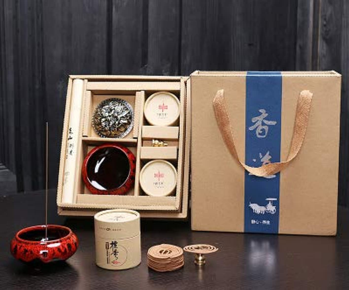スペード磁器ティームPHILOGOD 香炉 クリエイティブギフトボックス線香立て お香 ホルダー 仏壇用渦巻き線香 (Red)