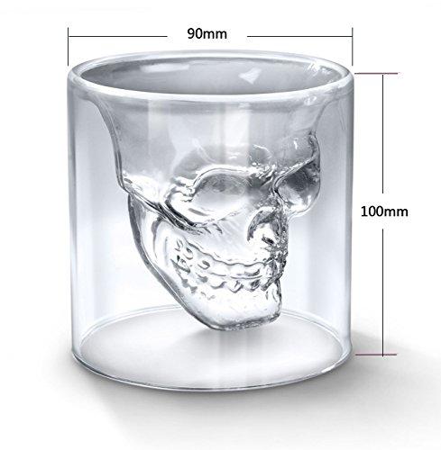 Glow Castle 創意海賊ドクロ杯創意熱二重ガラスの水晶の頭骨ワイングラスサウザウォッカ杯飲み水杯の酒(150ml)