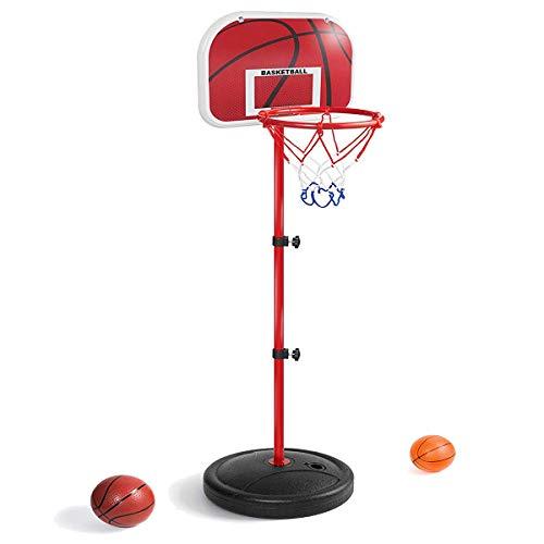 LANJU ミニ バスケットゴール バスケットボールセット 子供用 バスボールスタンド 高さ調節可能 二つボール付き 室内屋外兼用