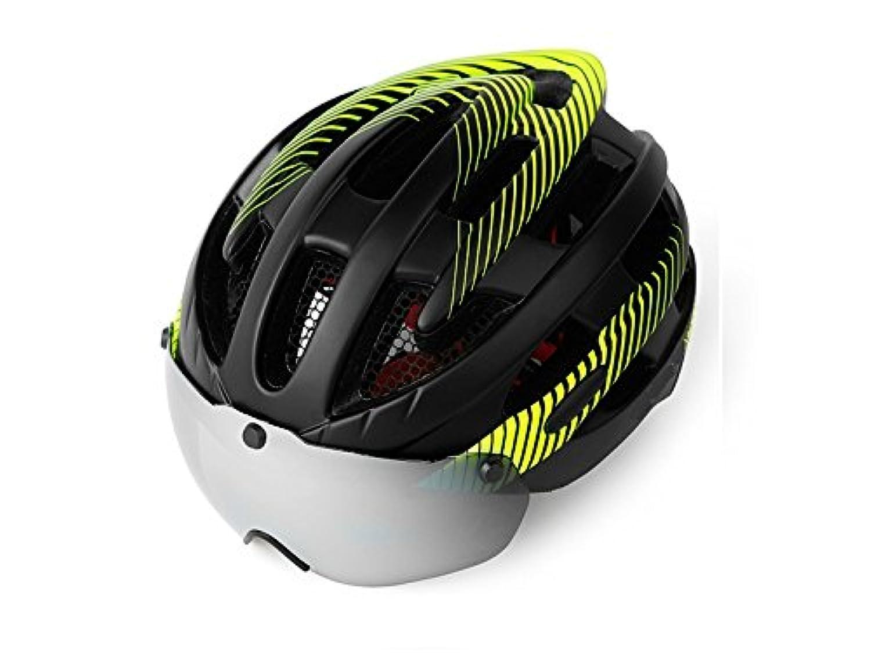 Osize リムーバブルゴーグルバイクヘルメット(黒+緑)とアダルト調整自転車ヘルメットサイクル自転車ヘルメット