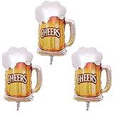 Toyvian ビールカップ ホイルバルーン ビールマグ マイラーヘリウムバルーン パーティー装飾 3個(ゴールド)
