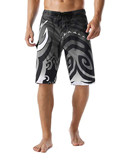 Nonwe Men's Quick Dry Wave Pattern with Mesh Lining Board Shorts Gray 28