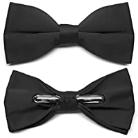 TieMart Black Clip-On Bow Tie