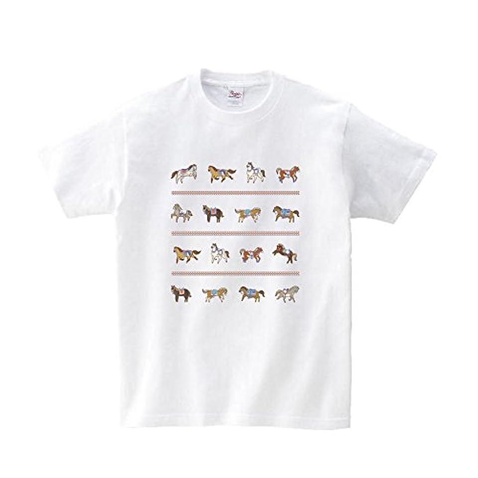 囲むユーモアパス301-sanmaruichi- Tシャツ メンズ 半袖 おしゃれ 馬 ホース 競馬グッズ ウマジョ イラスト かわいい クルーネック Uネック ユニセックス 男女兼用 プリントTシャツ ホワイト M