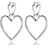 Designer Choice Novelty Double Big and Small Heart Hoop Geometric Earrings (White Gold)