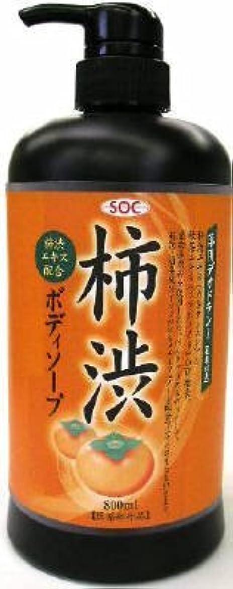 達成マスタードライン渋谷油脂 SOC 薬用柿渋ボディソープ 本体 800ml お肌にマイルドなせっけんタイプのボディソープ フルーティーフローラルのさわやかな香り×12点セット (4974297276010)
