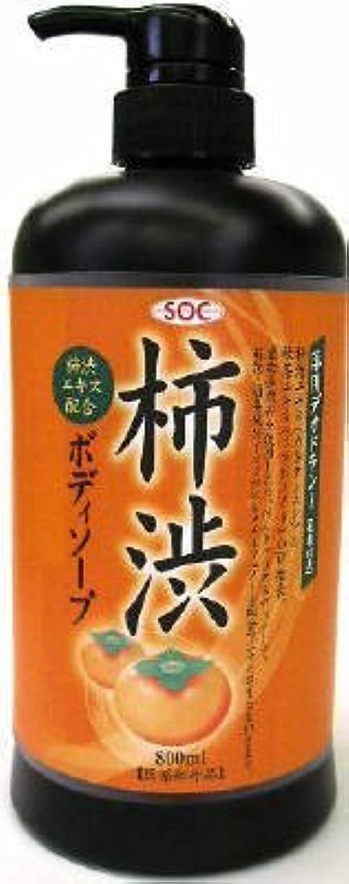 彼女は真空津波渋谷油脂 SOC 薬用柿渋ボディソープ 本体 800ml お肌にマイルドなせっけんタイプのボディソープ フルーティーフローラルのさわやかな香り×12点セット (4974297276010)