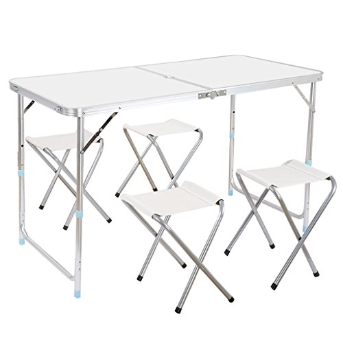 WELQUIC アウトドア 折りたたみテーブル 椅子付き 3段階高さ調整可能 折り畳み チェア パラソル穴付き ピクニック レジャー キャンプ用 アルミ製 軽量 持ち運び便利 耐荷重24kg