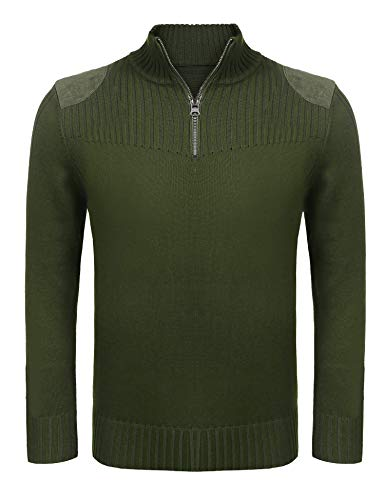 (クーファンディ)Coofandy セーター メンズ 春 ニット おしゃれ ビジネス カジュアル 大きいサイズ 立ち襟 ハーフアップ リブ編み フィット 黒 グリーン S~XXL (M, ダークグリーン)