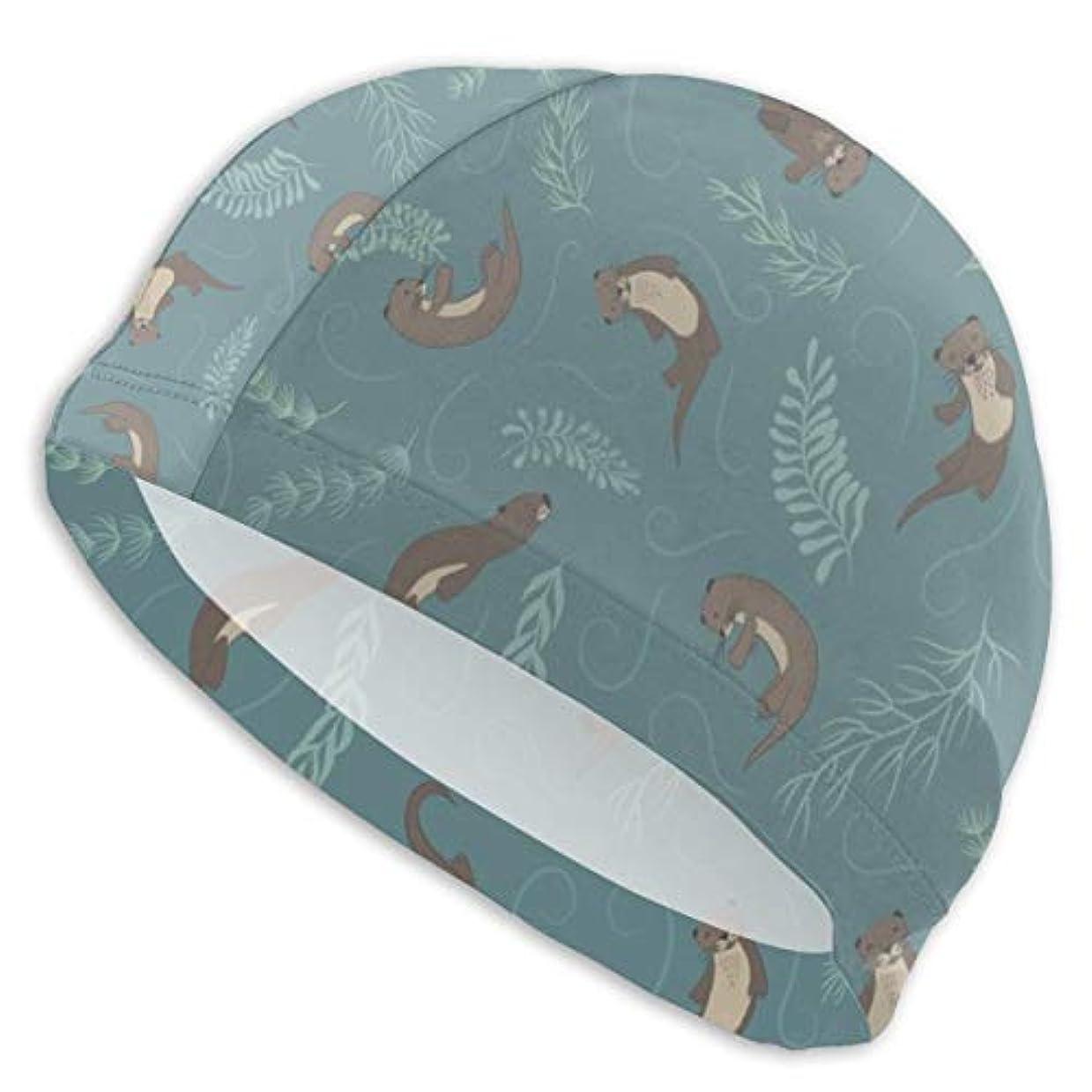 石灰岩光沢落ち着いて動物カワウソスイムキャップ スイミングキャップ 水泳キャップ 競泳 水泳帽 メンズ レディース 兼用 ゆったりサイズ フリーサイズ(28-33cm)