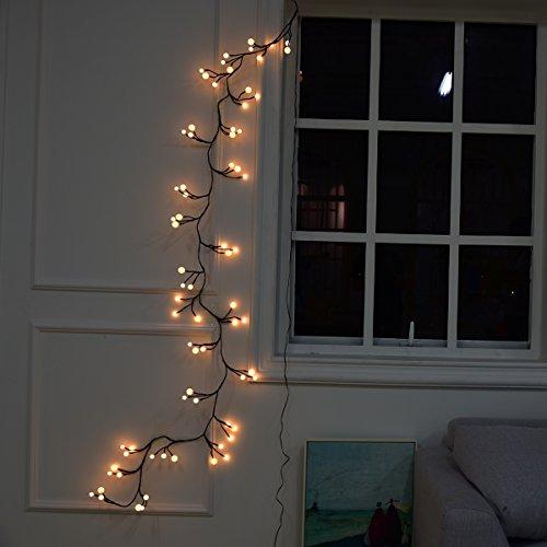 BIENNA イルミネーションライト LED 電源プラグ式 ワイヤーライト 電飾 飾り 装飾ライト LEDストリングライト 室内 室外 庭 祝日 結婚式 正月 クリスマス パーティ 2.5M/72球 耐熱 IP44防水 藤蔓/バブル型 8種点灯モード ウォームホワイト