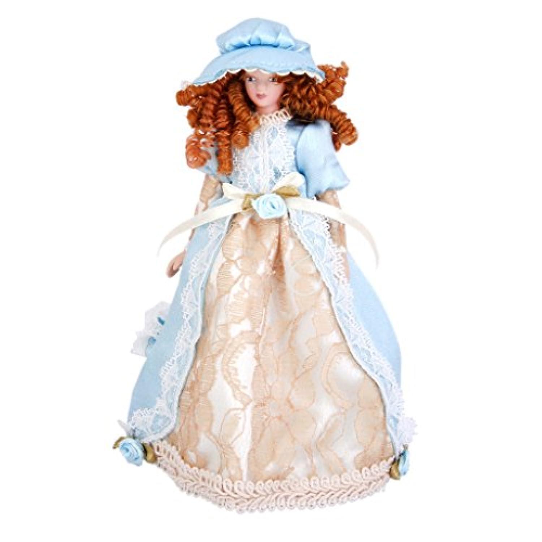 SODIAL ドールハウス ミニチュア セラミック かわいい人形 ドレス帽子のスタンド ビクトリアの人形 女性 プレイ クラシックの人形