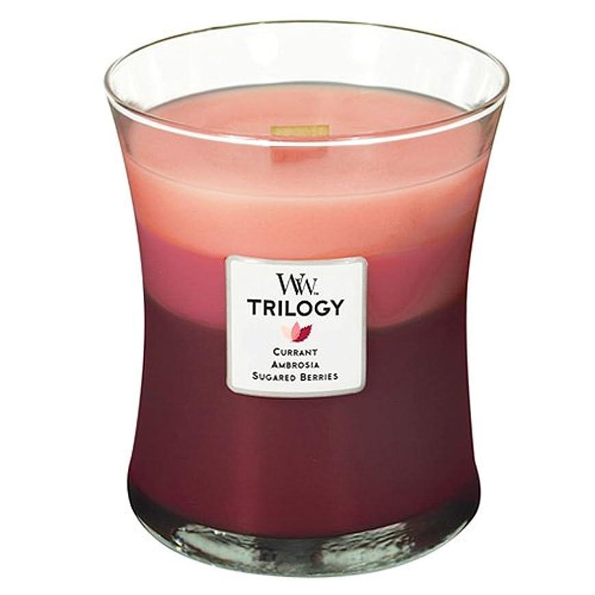 かまどブリーフケース昨日Woodwick Candleフルーツ誘惑Trilogy Medium Jar