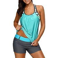 sidefeel Women Floral Blouson Swimwear T-Back Tankini Top