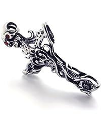 [テメゴ ジュエリー]TEMEGO Jewelry メンズキュービックジルコニアステンレススチールヴィンテージペンダントゴシックスカルクロスネックレス、レッドブラックシルバー[インポート]