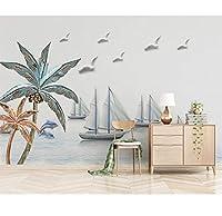 Generic 家の装飾の壁紙カスタマイズされた壁画北欧モダンなシンプルな3Dエンボス地中海ボート壁画写真3D壁紙-280X200Cm