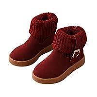 409641082a95b 「HIKARE」子供靴 キッズブーツ 女の子 履きやすい ショートブーツ 可愛い 子供シューズ 綿毛入り 滑り止め 秋冬 3色 ニット バックル 通学  外出