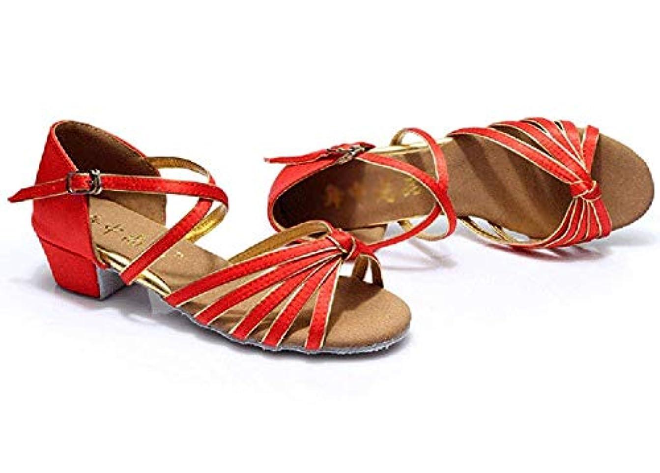 シャーク発明するじゃない[Dianyejiancai] 最新の女性ダンスシューズ 女の子ラテンダンスシューズ、子供用ダンスシューズローヒール耐摩耗性サンダル (Color : 赤, サイズ : Foot length=19.3CM(7.6Inch))