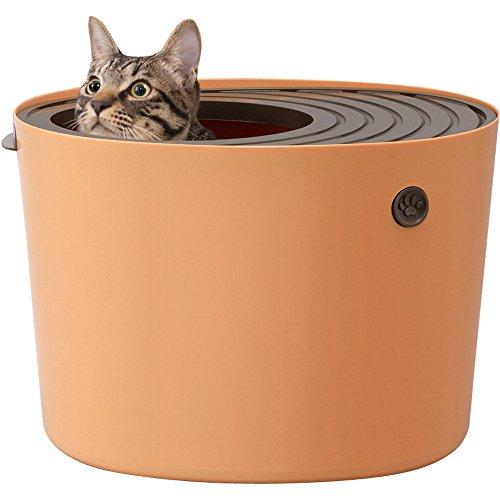 アイリスオーヤマ 上から猫トイレ オレンジ プチ