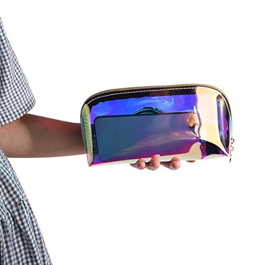 恐ろしいマイコン注釈を付ける化粧ポーチ 透明 メイク コスメ 収納 メイクブラシポーチ 防水 多彩 レーザー化粧品バッグ 小物入れ 温泉 ビーチサイド 旅行 出張 便利 (S)