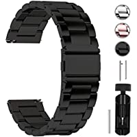 Fullmosa Quick Release Watch Band, Stainless Steel Watch Strap 16mm, 18mm,19mm,20mm,22mm or 24mm, 24mm Black