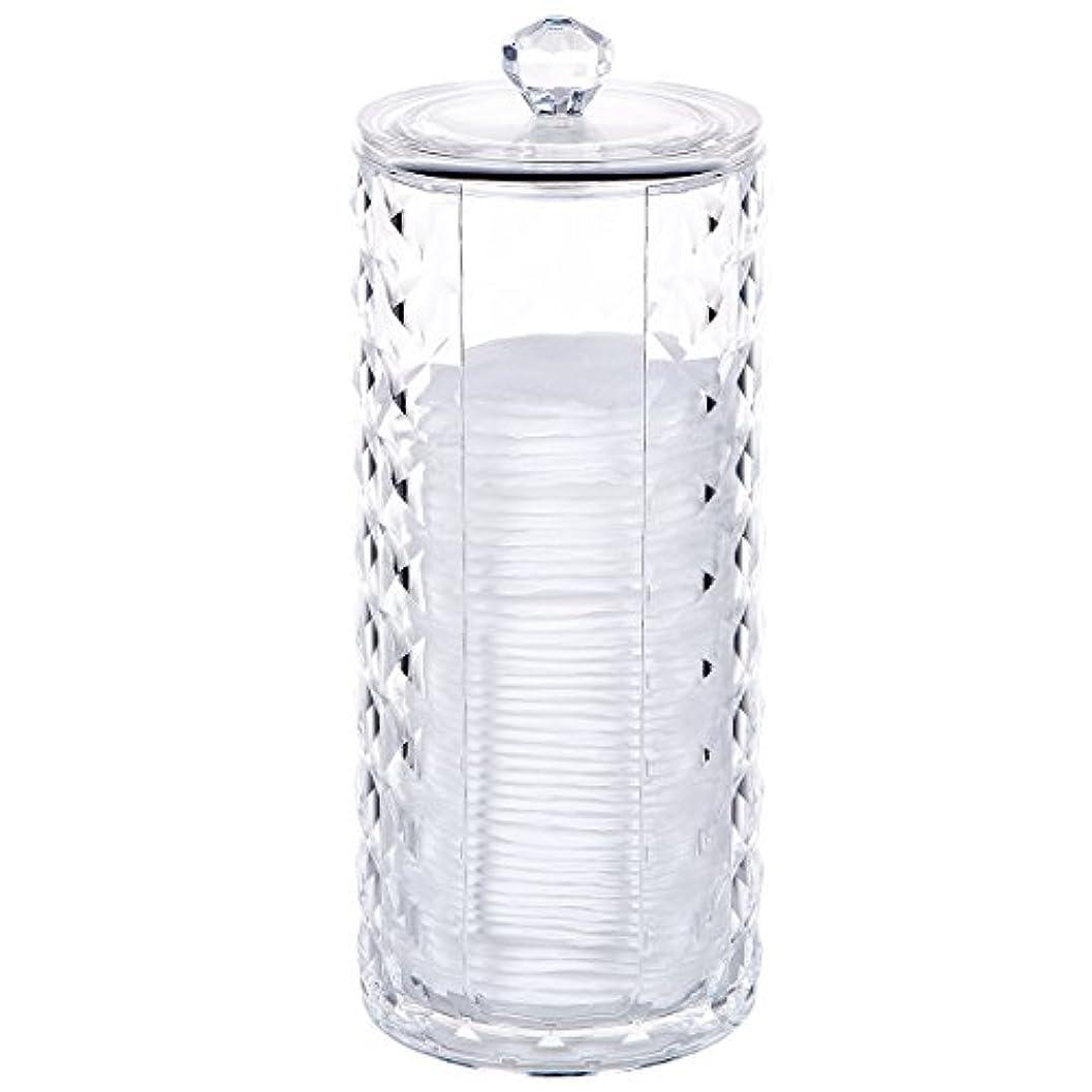古い分散感性コスメボックス 綿棒収納ボックス アクリル製 ダイヤモンド模様 多功能 コスメ小物用品?化粧品収納ケース 透明 (円形)