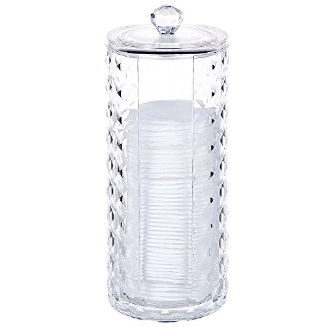 倒錯額傾斜コスメボックス 綿棒収納ボックス アクリル製 ダイヤモンド模様 多功能 コスメ小物用品?化粧品収納ケース 透明 (円形)