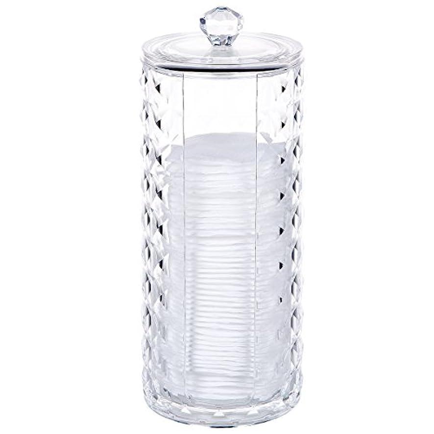 自伝勧める時々コスメボックス 綿棒収納ボックス アクリル製 ダイヤモンド模様 多功能 コスメ小物用品?化粧品収納ケース 透明 (円形)