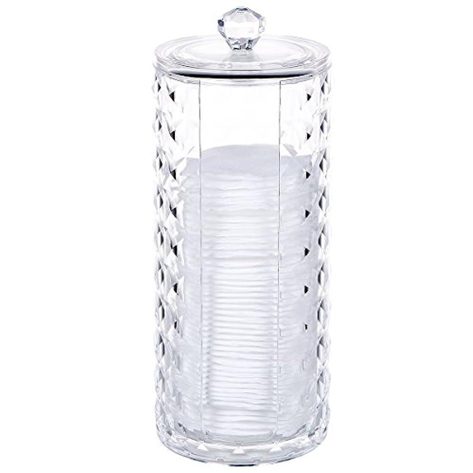 粉砕する本質的にびっくりコスメボックス 綿棒収納ボックス アクリル製 ダイヤモンド模様 多功能 コスメ小物用品?化粧品収納ケース 透明 (円形)