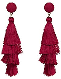 Sanwooden Gorgeous Earrings Multi-Layer Tassel Bohemian Earrings Party Jewelry Women Long Dangle Club Gift Earrings