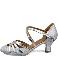 HROYL レディース ラテン ダンス シューズ 女性 社交 ダンス 靴 ローヒール 社交 ステージ ダンスシューズ バトゥーダンスシューズ 512
