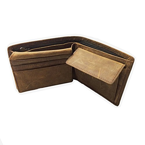 Jabez's Garden メンズ 財布 二つ折り 革 本革 柔らかい 小銭入れあり (メッシューブラウン)