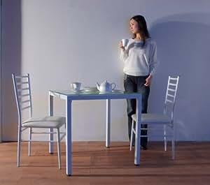 2人用 10ミリ厚強化ガラス ダイニングテーブル3点セット ホワイト 75x75cm